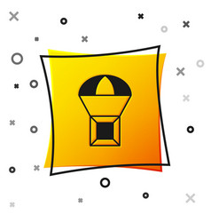 Black box flying on parachute icon isolated vector