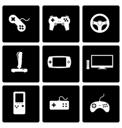 black video game icon set vector image
