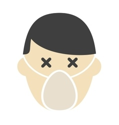 Breathing mask on face flat icon respirator vector