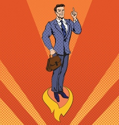 Businessman in Pop Art Style Star Up Concept vector image