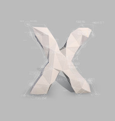 capital latin letter x in low poly style vector image