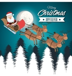 card merry christmas santa flying reindeer vector image