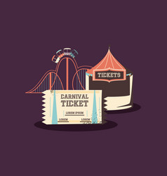 carnival roller coaster ticket booth entertainment vector image