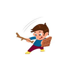 Cartoon boy with a shield and a stick is playing vector