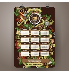 Cartoon doodles Coffee 2017 calendar vector