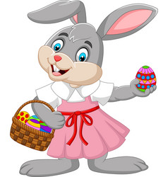 cartoon easter bunny girl with a basket of egg vector image