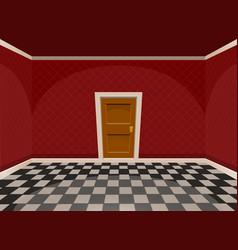 Cartoon empty room with a door in red style vector