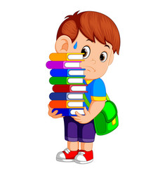 child carrying many books vector image