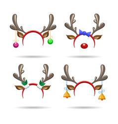christmas antlers headbands vector image