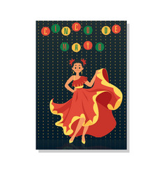 cinco de mayo - mexican dancer woman in red dress vector image