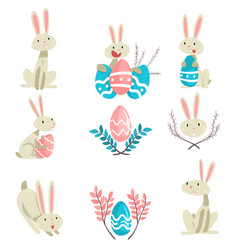 Collection of cute bunnies and colorful eggs vector