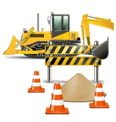 Construction Machines with Barrier vector image