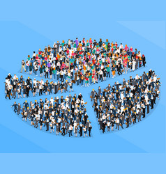 Crowd people isometric pie chart vector