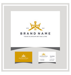 Crown house logo design with business card vector