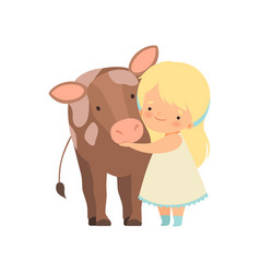 Cute girl hugging calf kid interacting with vector