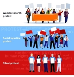 Demonstration Protest People Banners vector