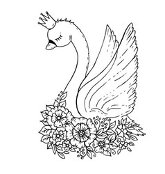 Doodle cartoon swan with flowers and crown vector