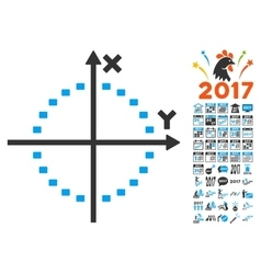 Dotted Circle Plot Icon With 2017 Year Bonus vector