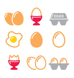 eggs icons fried egg egg box - breakfast icons vector image