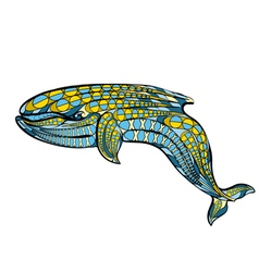 ethnic blue whale vector image