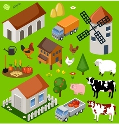 Farm isometric set vector image