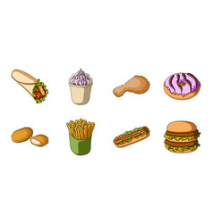 fast food icons in set collection for designfood vector image