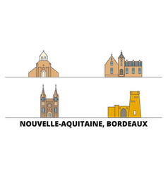 France bordeaux flat landmarks vector