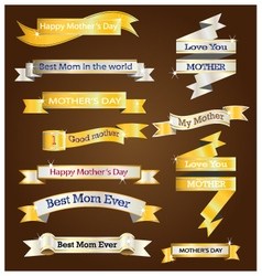 Gold and silver ribbon for mother day vector image