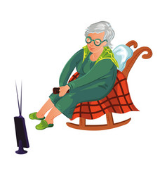 Grandmother sitting on a rocking chair and vector