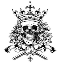 graphic skull with crossed bones and revolvers vector image