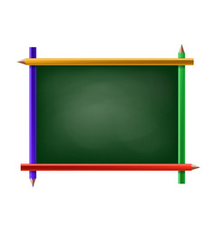 green chalkboard with frame of pencils vector image