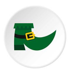 Green leprechaun boot icon circle vector
