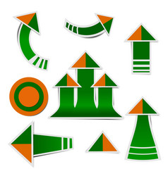 green paper arrow and orange paper arrow stickers vector image