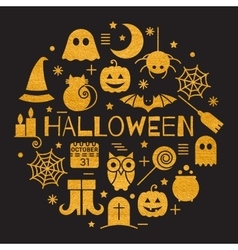 Halloween gold icons set in circle shape vector