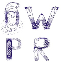 hand-drawn letters O P R W vector image