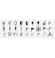 hand drawn logistic navigation icons doodle set vector image
