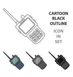 handheld transceiver icon in cartoon style vector image