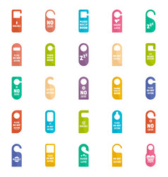 hanger tags door card hotel icons set flat style vector image