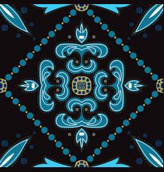 Indigo floral motif ornament seamless vector