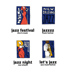 Jazz music festival logo set vector