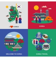 Korean Culture Flat 4 Icons Square vector
