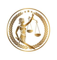 Lady justice themis golden emblem vector
