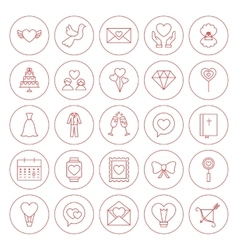 Line circle love heart icons set vector