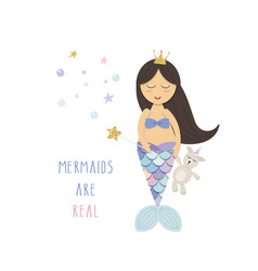 Little mermaid with unicorn toy cute cartoon vector