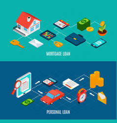 Loans isometric banners set vector
