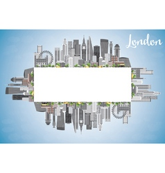 London Skyline with Gray Buildings Blue Sky vector image