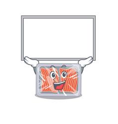 Mascot design frozen salmon lift up a board vector