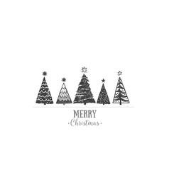 minimalist christmas card with christmas trees on vector image