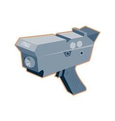 Mobile speed camera radar gun retro vector