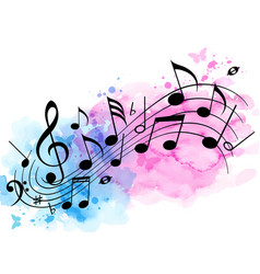 music background with notes and watercolor texture vector image